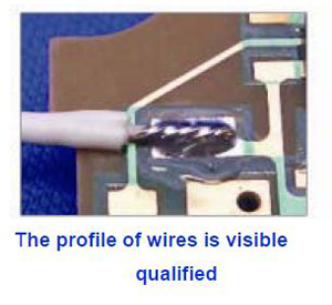 The profile of wires is visible qualified