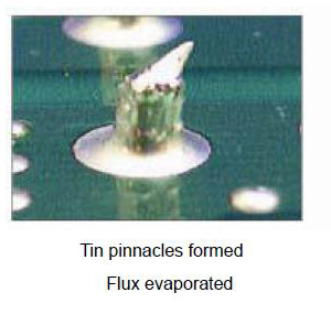 Tin pinnacles formed Flux evaporated