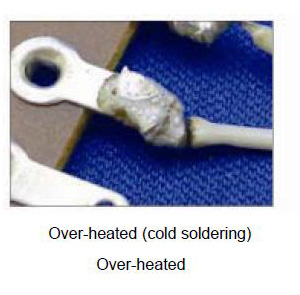 Over-heated (cold soldering) Over-heated