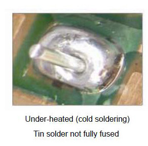 Under-heated (cold soldering) Tin solder not fully fused