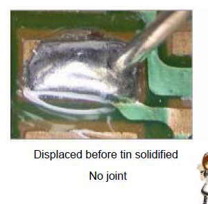 Displaced before tin solidified No joint