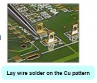 Lay wire solder on the Cu pattern